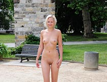 Linda shows all in public nudity